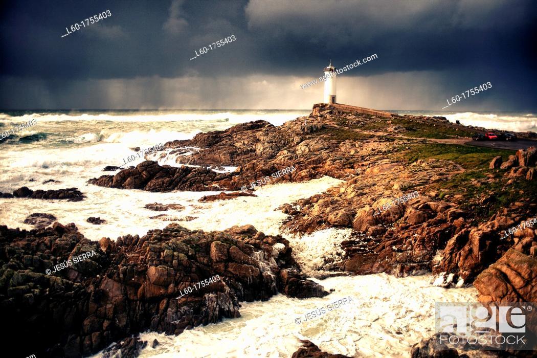 Stock Photo: Strom in Punta Roncudo, Galica, Spain.
