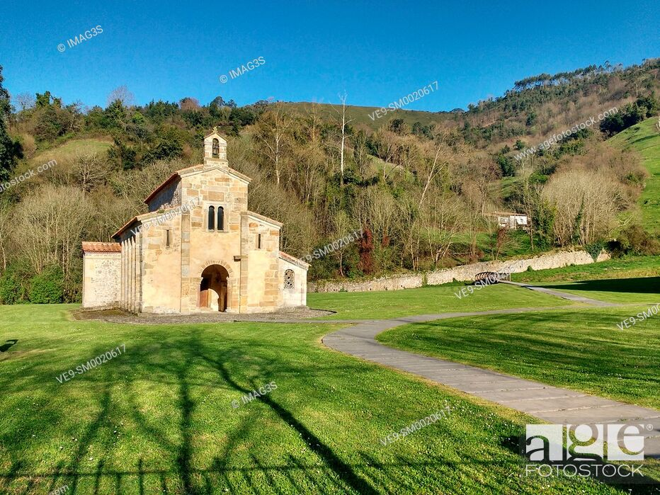 Stock Photo: Pre-Romanesque church of San Salvador de Valdedios, Villaviciosa, Way of St James, Asturias, Spain.
