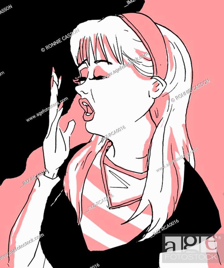 Stock Photo: A woman yawning.
