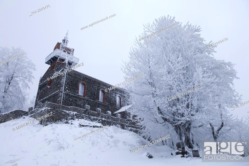 Stock Photo: Winter Landscape of a Church on the Top of the Sleza Mountain, Lower Silesia, Poland.