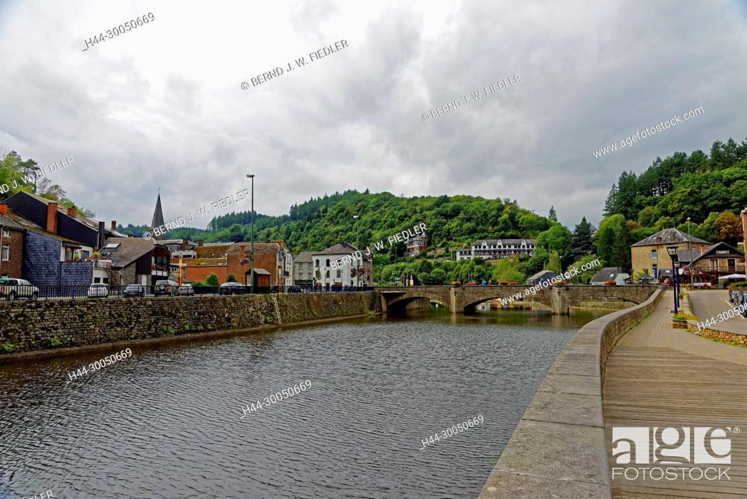 Stock Photo: Local view, river, Ourthe, La Smelling Roche-en-Ardenne Belgium.