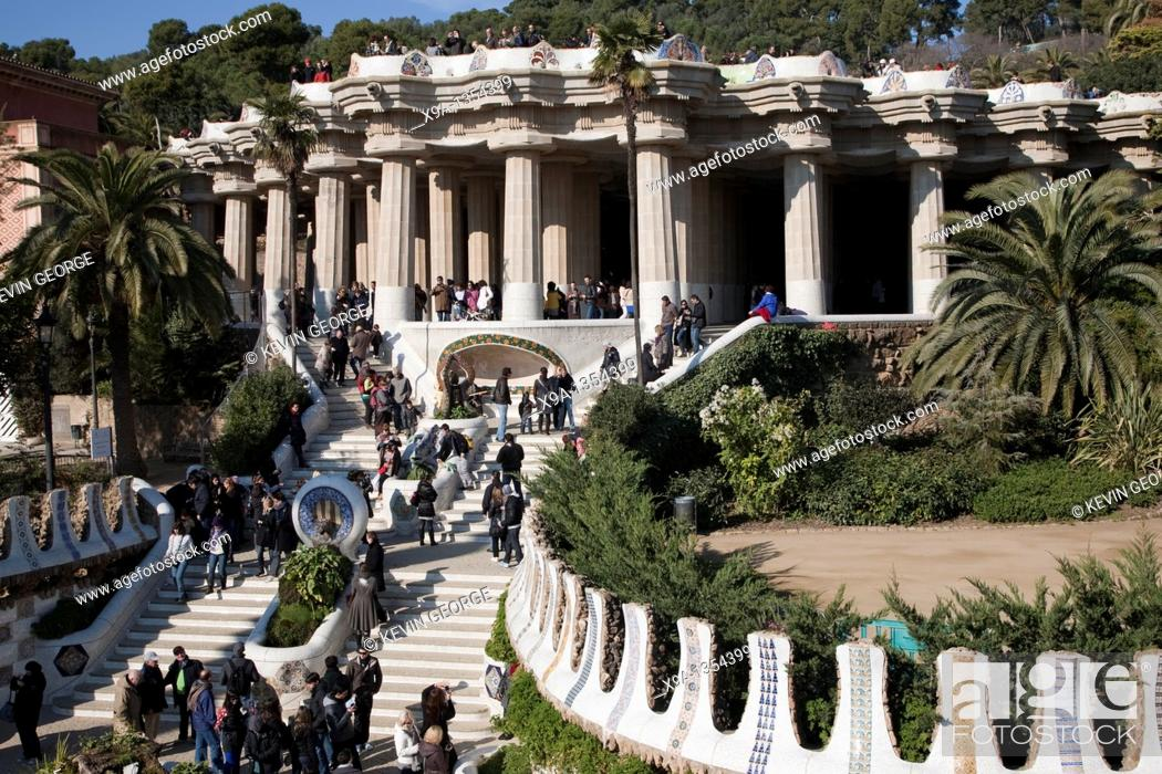 Stock Photo: Park Guell designed by Gaudi in Barcelona, Catalonia, Spain.