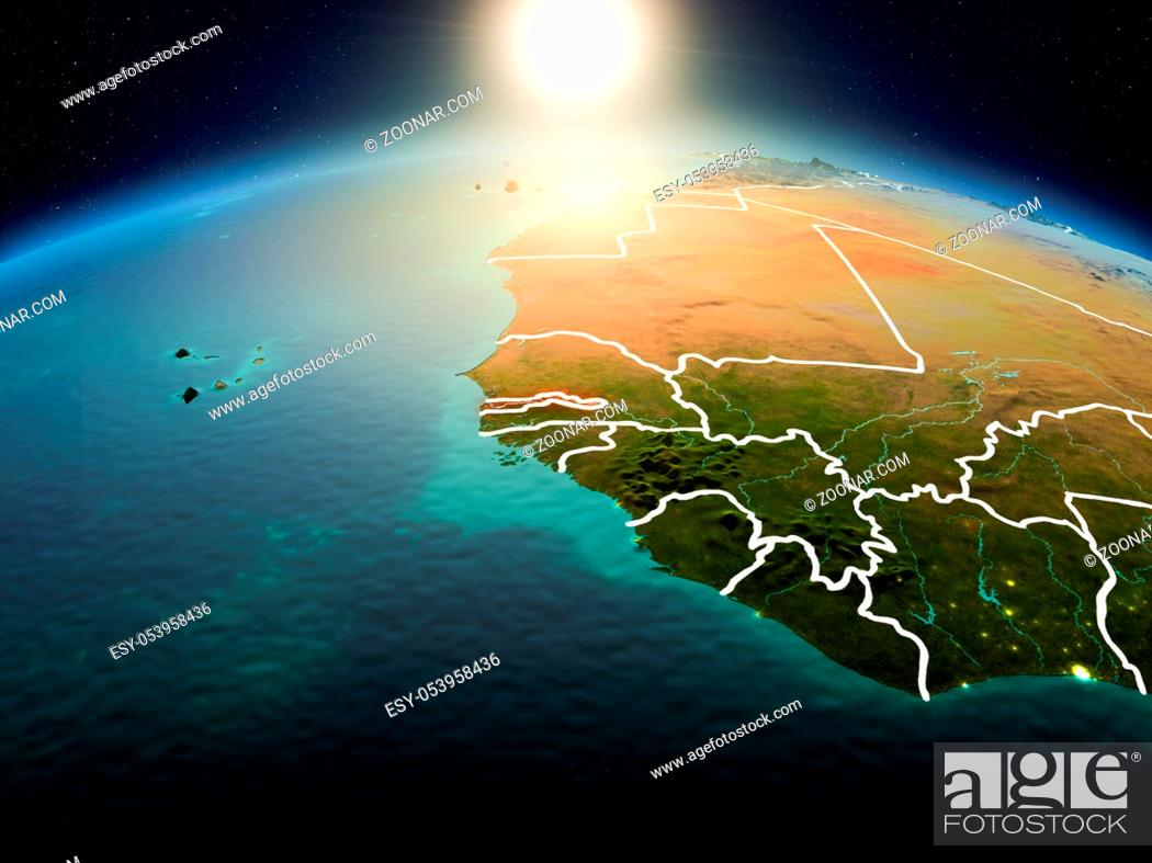 Stock Photo: Sunrise above Gambia highlighted in red on model of planet Earth in space with visible country borders. 3D illustration. Elements of this image furnished by.