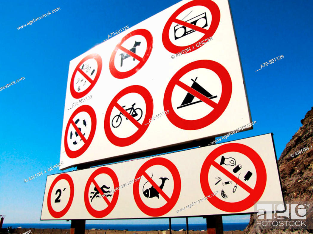 Stock Photo: Prohibition signs. Gran Canaria, Canary Islands, Spain.
