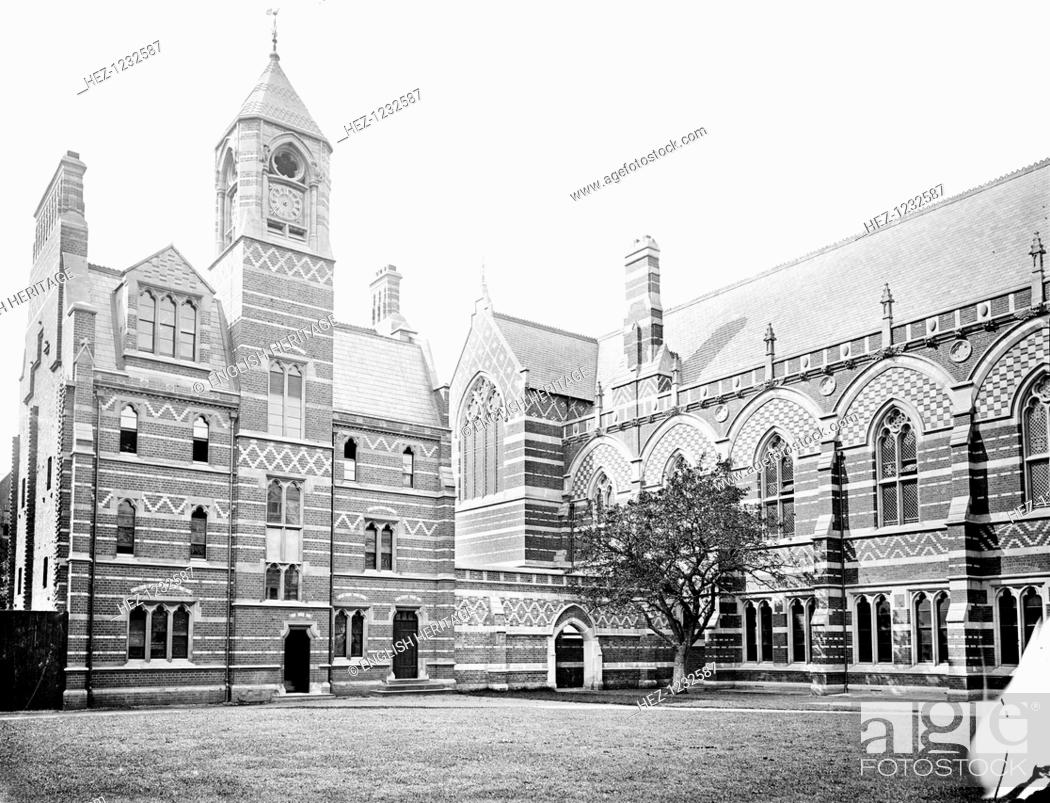 Stock Photo: Keble College, Chapel, Parks Road, Oxford, Oxfordshire, 1880. The exterior of the chapel, designed by William Butterfield and built in 1873.