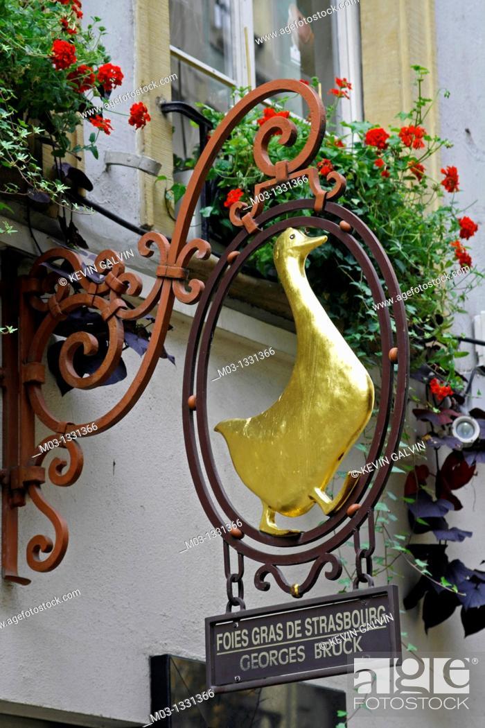 Stock Photo: France Alsace Strasbourg street scene signs restaurant cafe sign fois gras with duck.