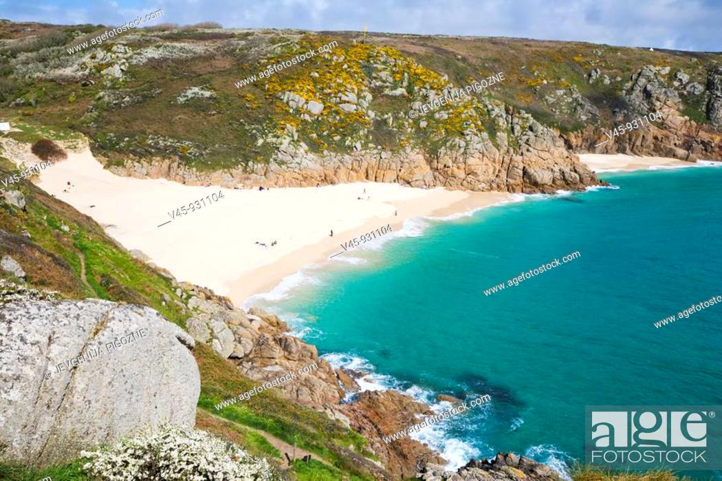 Stock Photo: Porthcurno Beach. Strand. Cornwall. England. UK.