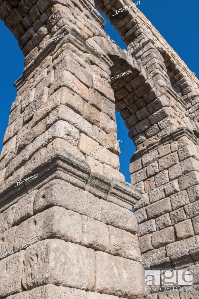 Stock Photo: Partial view of the Roman aqueduct located in the city of Segovia, Unesco World Heritage Site, Spain.