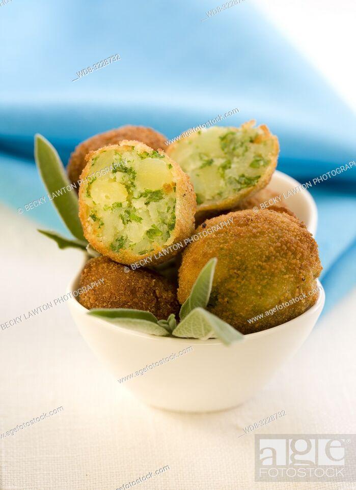 Stock Photo: Croquetas de patatas / Croquettes of potatoes.