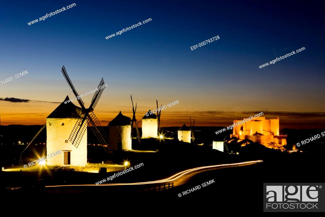 Stock Photo: windmills with castle at night, Consuegra, Castile-La Mancha, Spain.