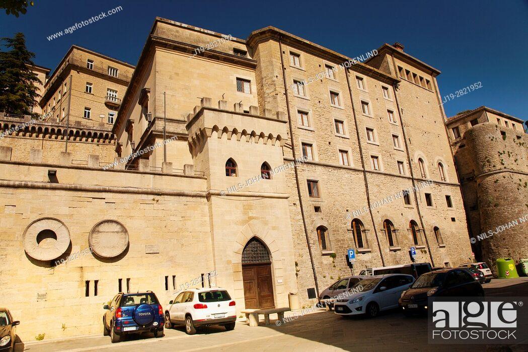 Stock Photo: Republica di San Marino, Piazzale Straddne (Italy).