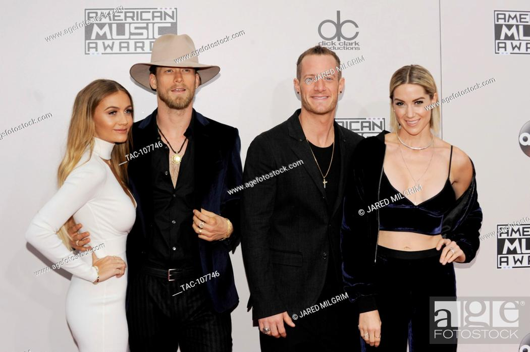 Stock Photo: Hayley Stommel Hubbard, Tyler Hubbard, Brian Kelley, Brittney Marie Cole Kelley of Florida Georgia Line arrives at the 2016 American Music Awards at Microsoft.