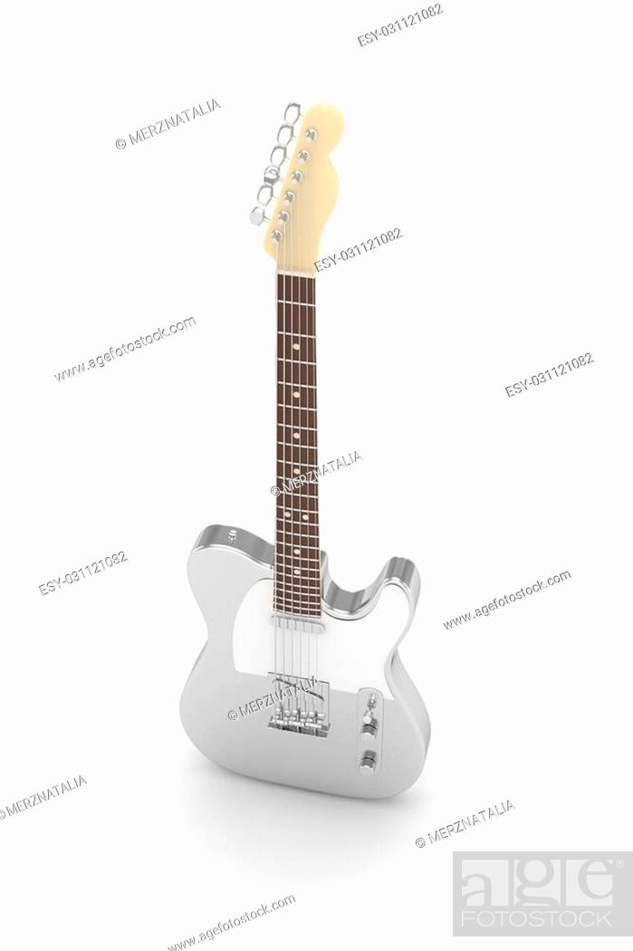 Stock Photo: Isolated silver electric guitar on white background. Musical instrument for rock, blues, metal songs. 3D rendering.