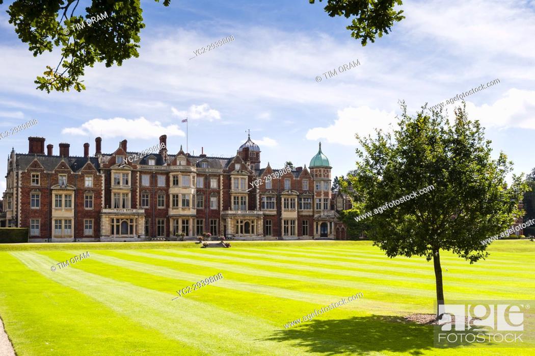 Stock Photo: Sandringham House at Sandringham Estate in Norfolk , England , Britain , Uk.
