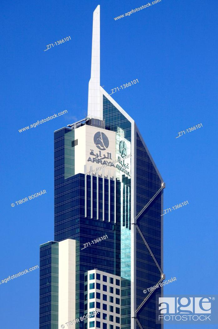 Stock Photo: Kuwait, Kuwait City, Arraya Tower, skyscraper,.