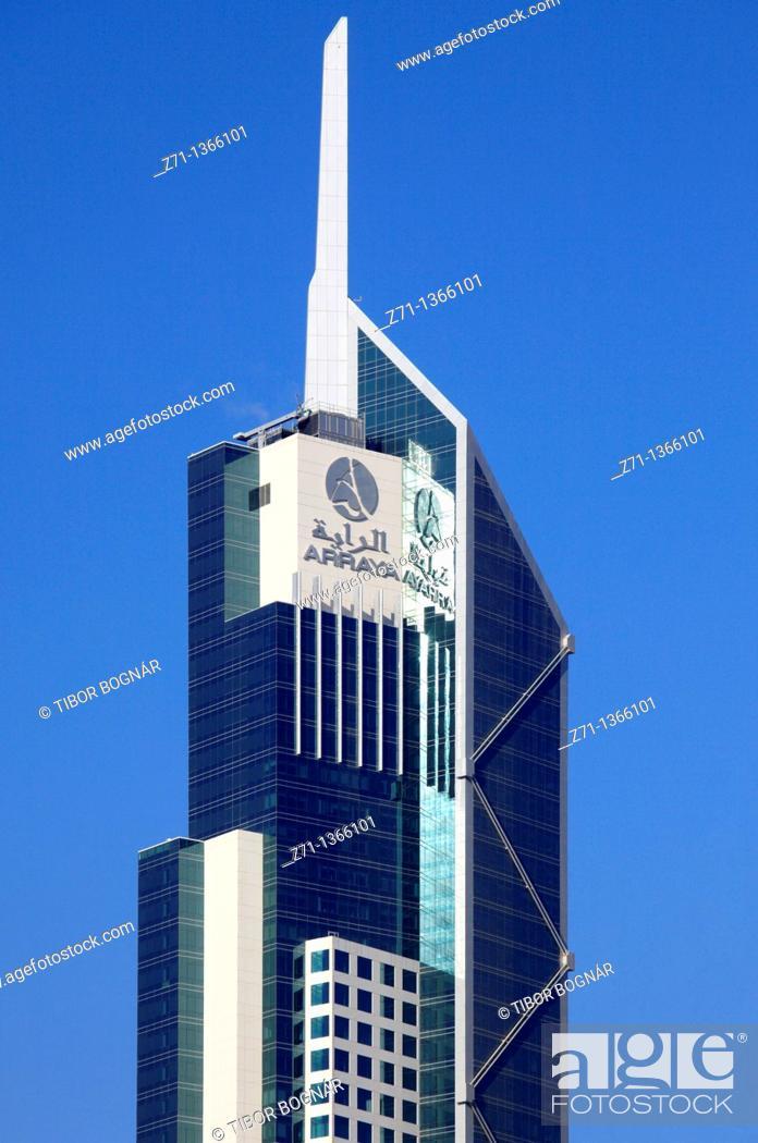 Stock Photo: Kuwait, Kuwait City, Arraya Tower, skyscraper,.