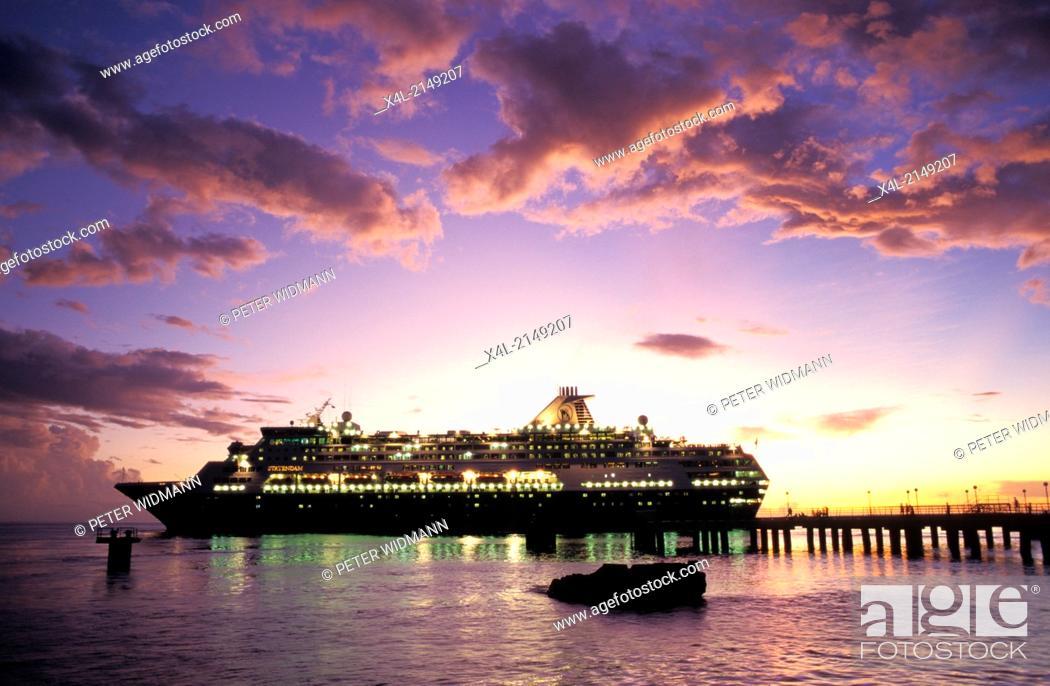 Stock Photo: ocean cruiser with lightened windows in sunset, Crown Princess.