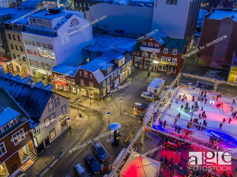 Stock Photo: Ice Skating Rink, Winter, Reykjavik, Iceland. This image is shot using a drone.