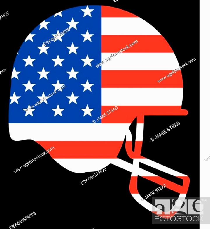 Vector: Outline sketch silhouette of a football helmet in blue set on a Stars and Stripes background.