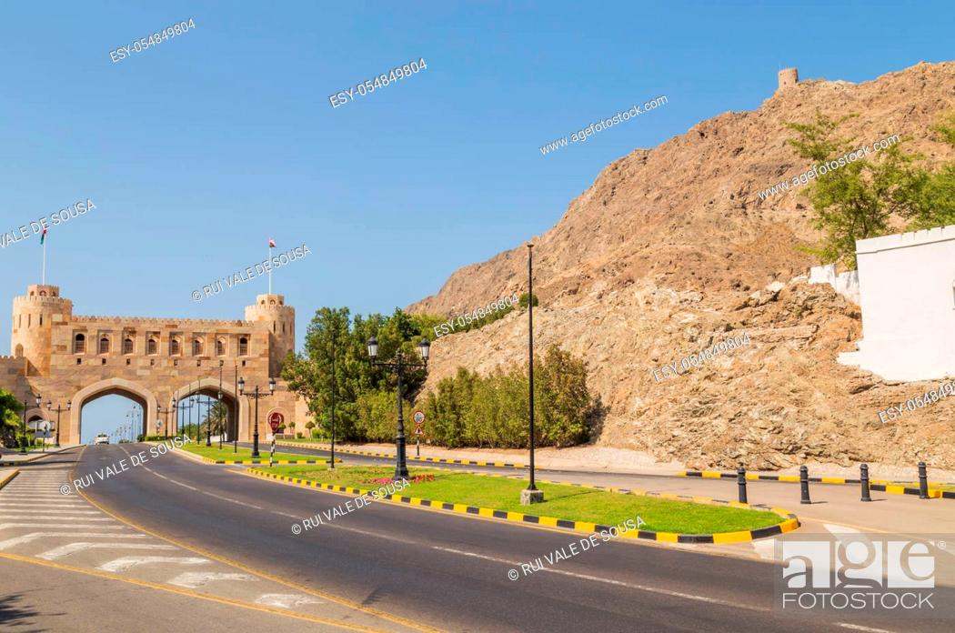 Stock Photo: View of the old gate to the old town of Muscat, Oman.