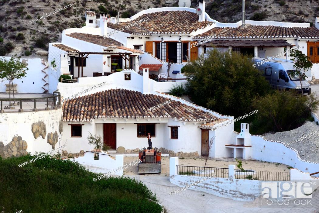 Stock Photo: Traditional cavehouses in the city of Galera near Baza, unspoilt cave country in mountainous region of northern Andalusia.
