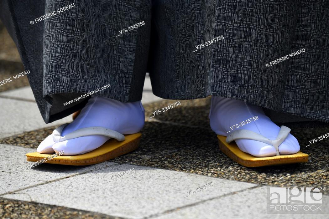 Stock Photo: Close up of man's geta shoes, Japan, Asia.