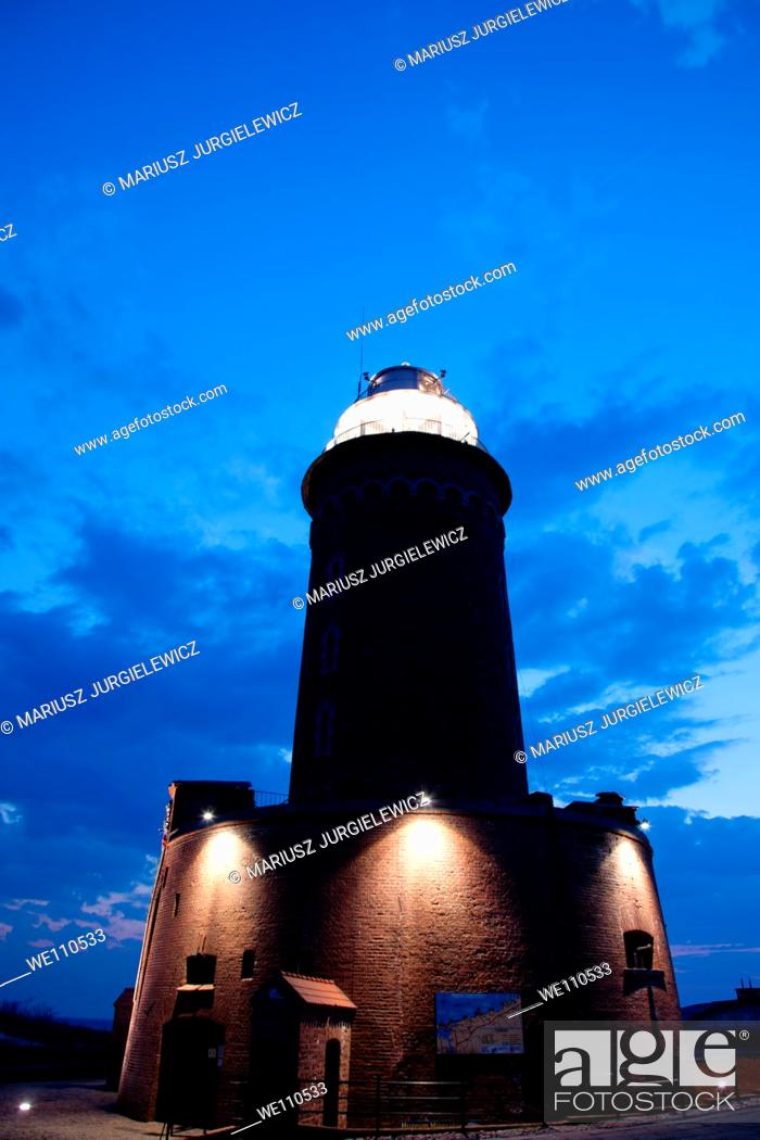 Stock Photo: Lighthouse in the Harbour of Kolobrzeg at night.