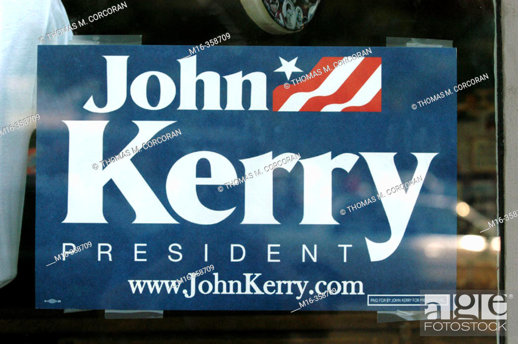 Stock Photo: 2004 presidential campaign: A John Kerry poster in the window of a Washington DC business.