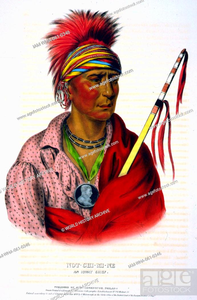 Stock Photo: Not-Chi-Mi-Ne an Ioway chief wearing earrings and a portrait medallion around his neck. The Ioway (Iowa) are a Native American Siouan people who live either in.