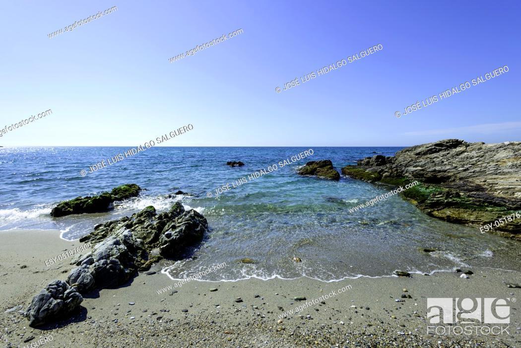 Stock Photo: Natural Site Cliffs of Maro Cerro-Gordo, Nerja, Málaga, Andalusia, Spain, Europe.