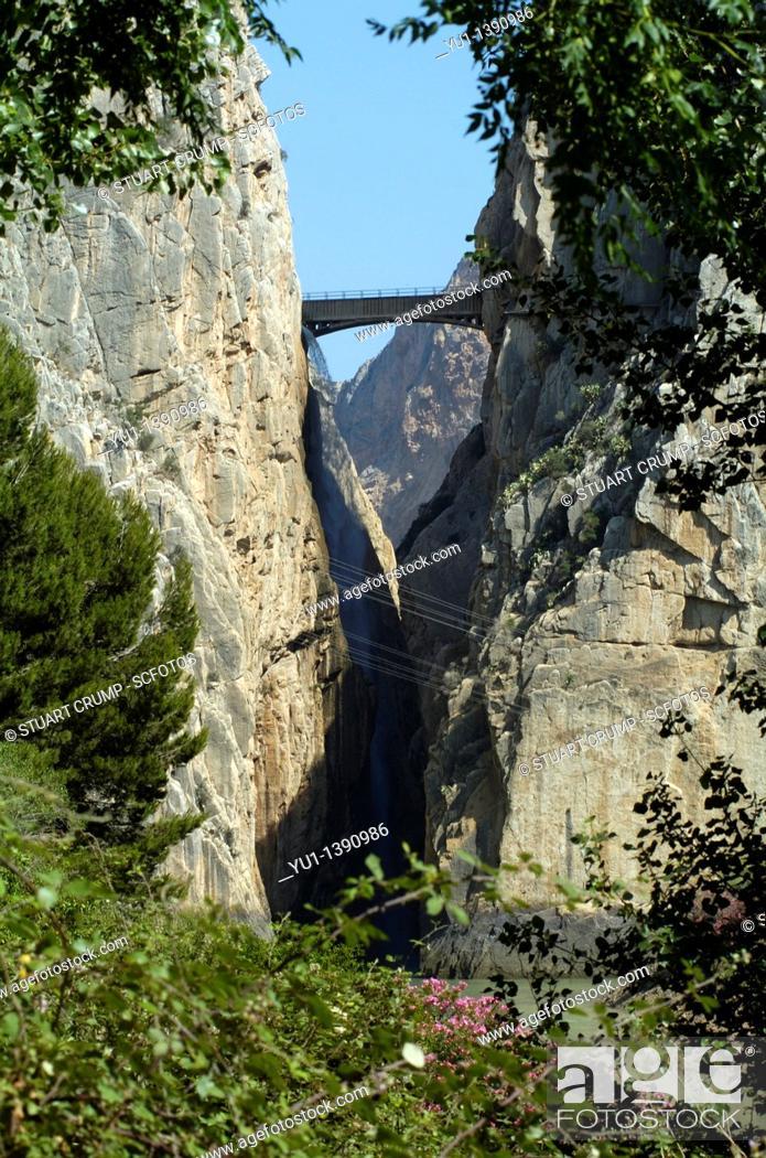 Stock Photo: Desfiladero de los gaitanes and The Kings Pathway Caminito del rey Andalucia, Southern Spain, Europe.