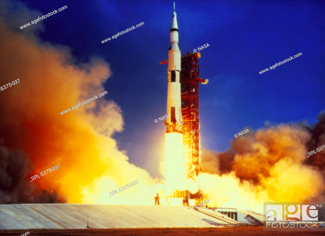 Stock Photo: Launch of Apollo 11 from pad 39A at Kennedy Space Centre, Florida, on July 16th 1969 - the beginning of the first manned mission to land on the moon.