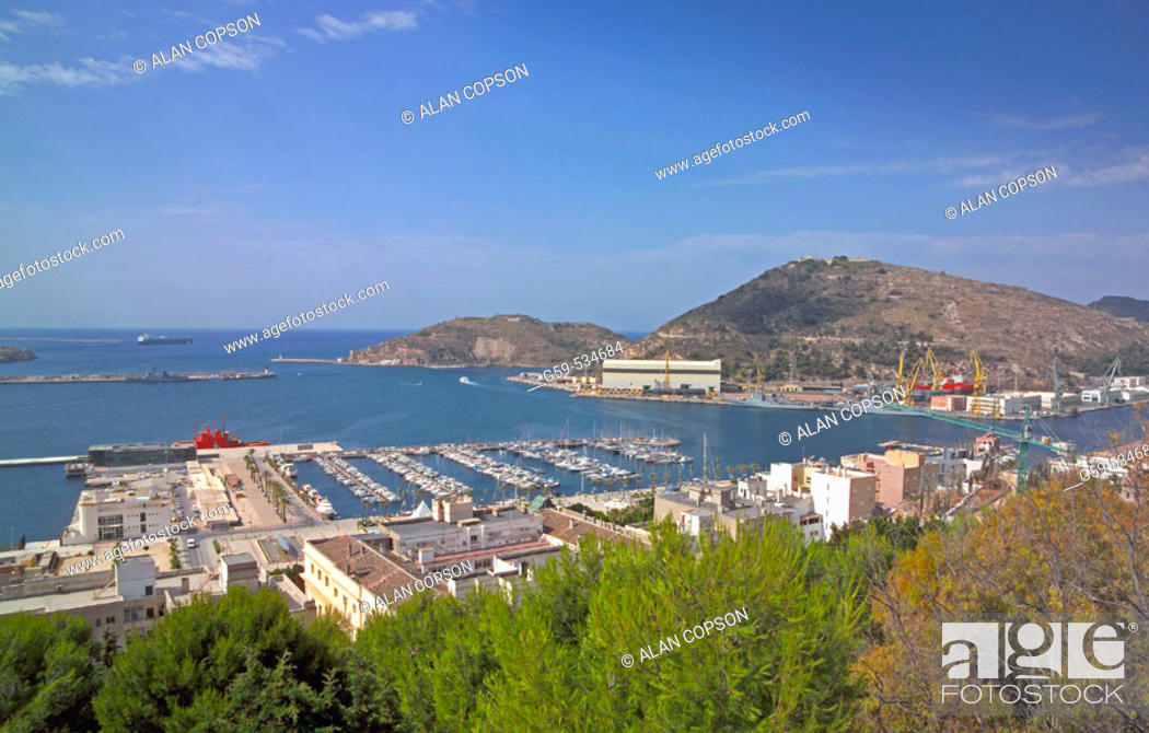 Stock Photo: Spain Murcia Cartagena Old Town and Port.