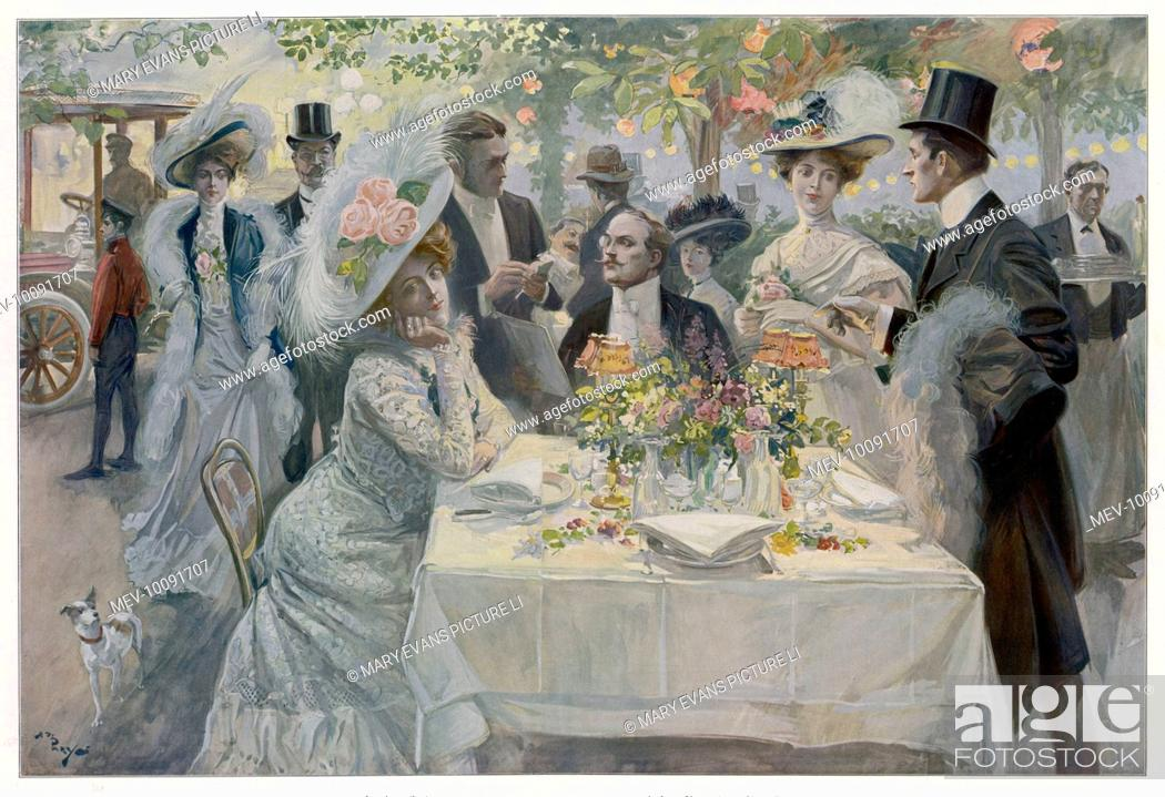 Stock Photo: Fashionable diners order their meal at a garden restaurant in the Bois de Boulogne, Paris, while other equally fashionable guests arrive in their.
