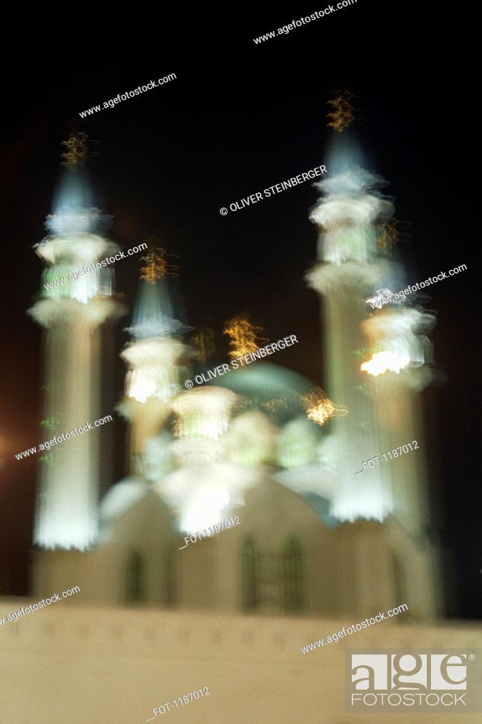 Stock Photo: Defocused shot of Qolsharif Mosque against cloudy sky in Kazan Kremlin, Russia.