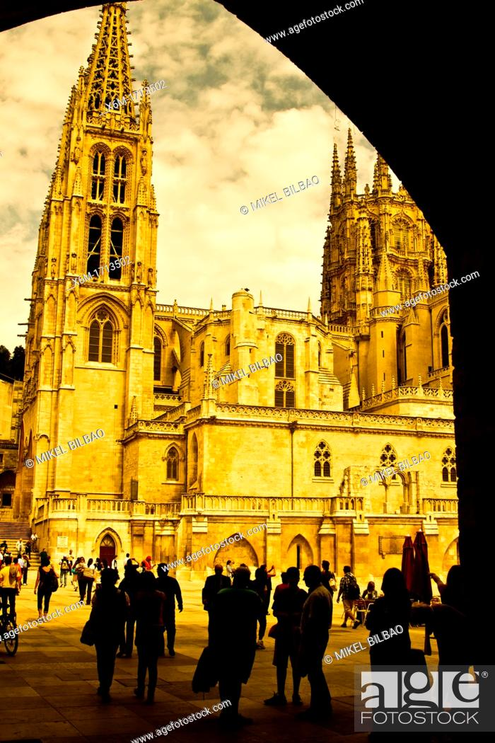 Stock Photo: Cathedral view  Burgos city  Castile and Leon, Spain.