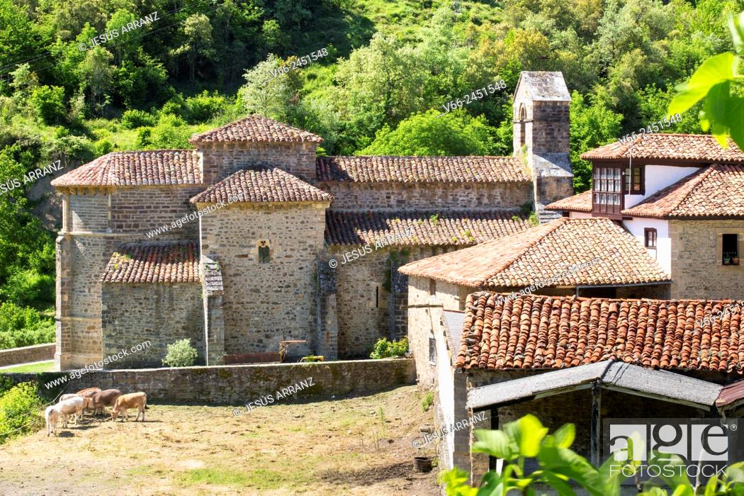 Stock Photo: Iglesia de Santa María (11th century), Piasca, Valle de Liébana, Cantabria, Spain.