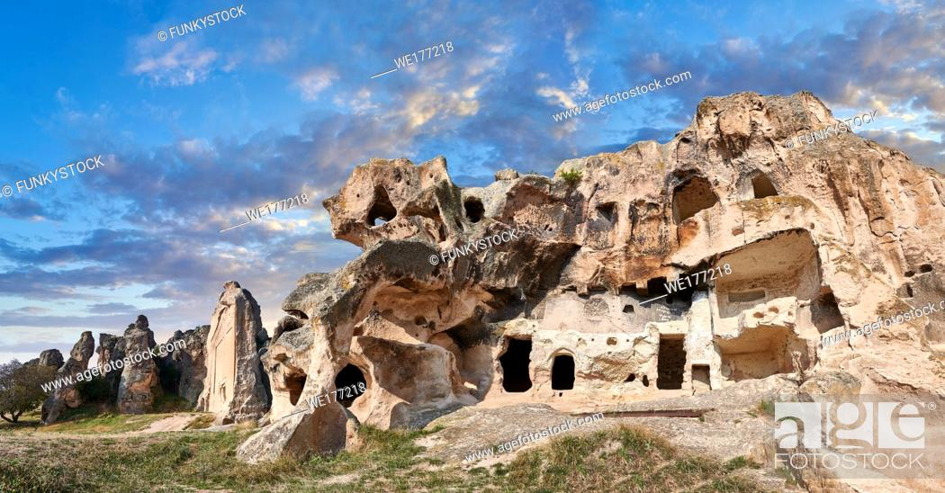 Stock Photo: Phrygian and later rock tombs of the necropolis of Midas . From the 8th century BC . Midas City, Yazilikaya, Eskisehir, Turkey.