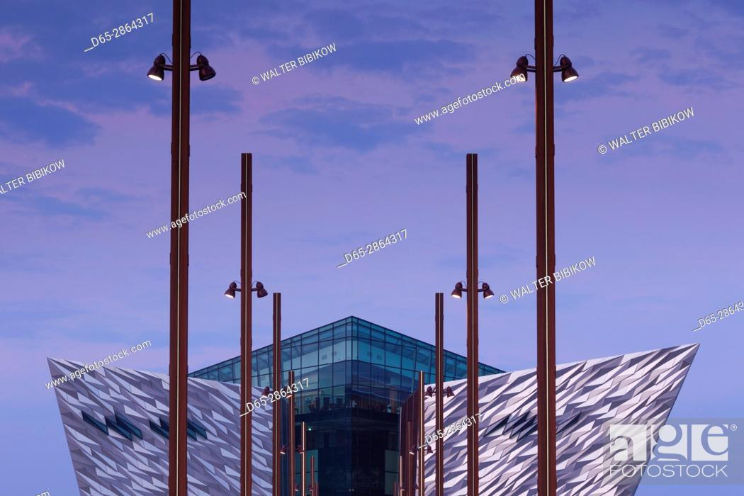Stock Photo: UK, Northern Ireland, Belfast, Belfast Docklands, Titanic Belfast Museum, exterior, dawn.