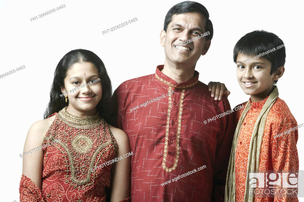 Stock Photo: Portrait of a mature man with his son and daughter.