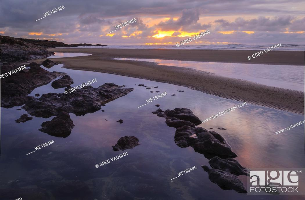 Stock Photo: Sunset at Yachats on the central Oregon Coast.