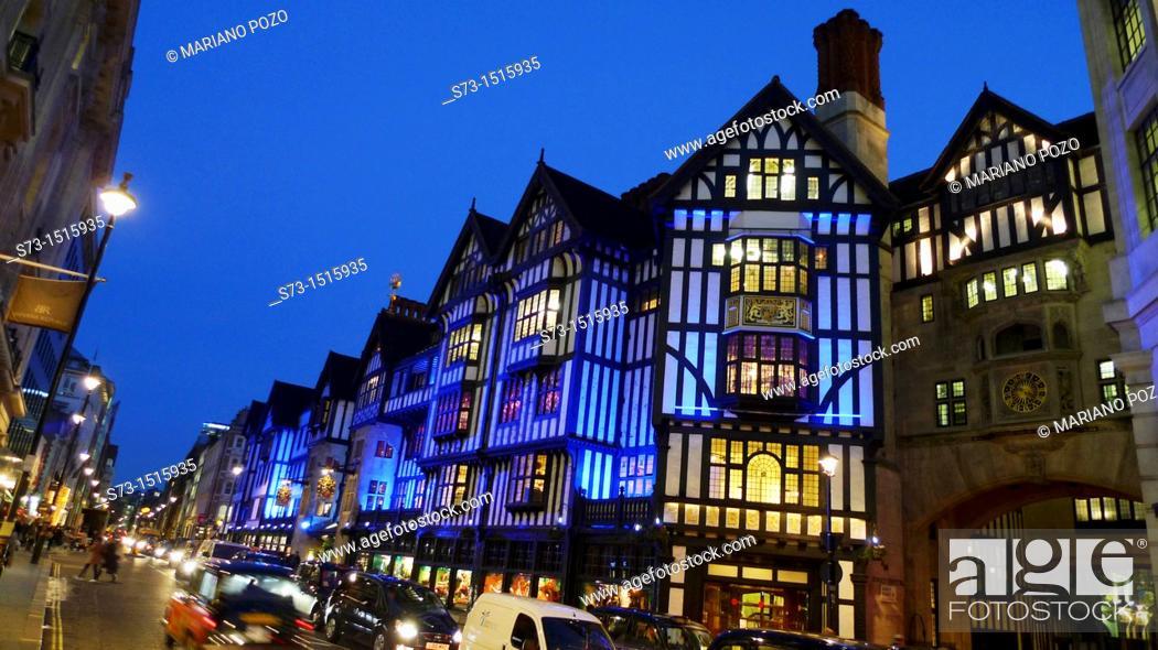 Stock Photo: UK, London  Regent Street  Liberty department store.