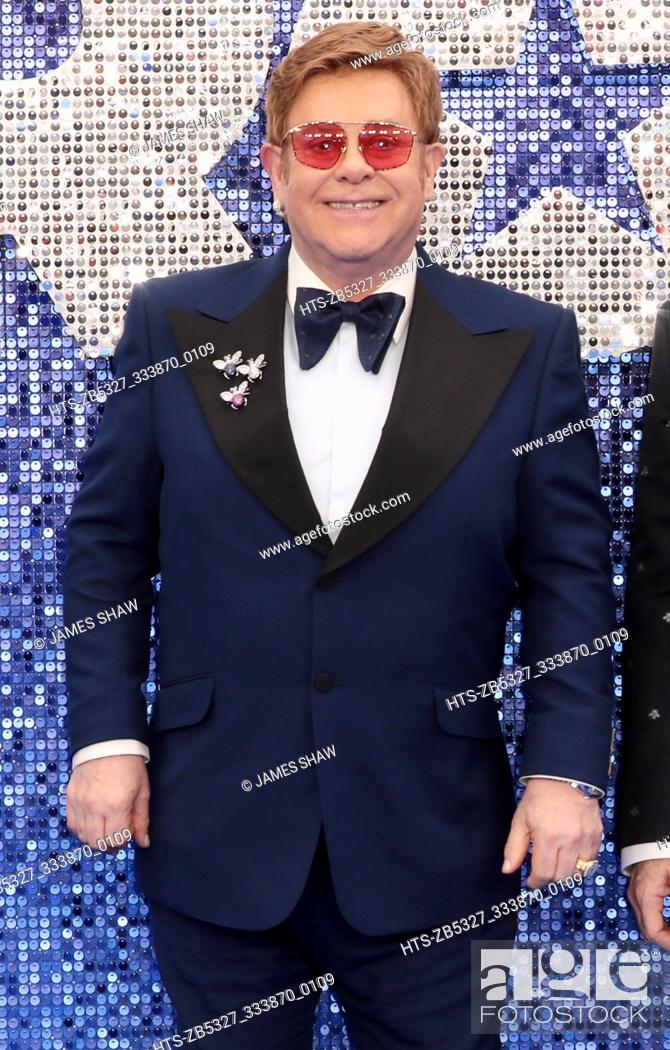 Stock Photo: Sir Elton John arrives for the 'Rocketman' film premiere, London, UK.