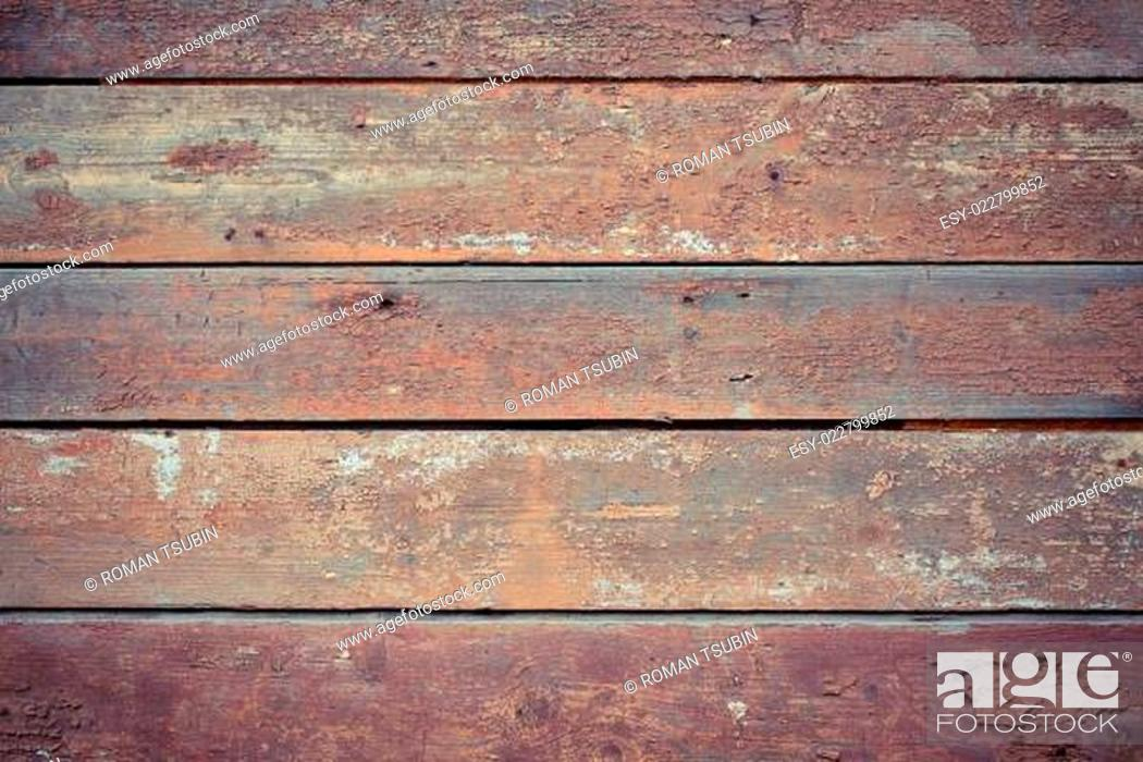 Stock Photo: Old wooden painted and chipping paint.