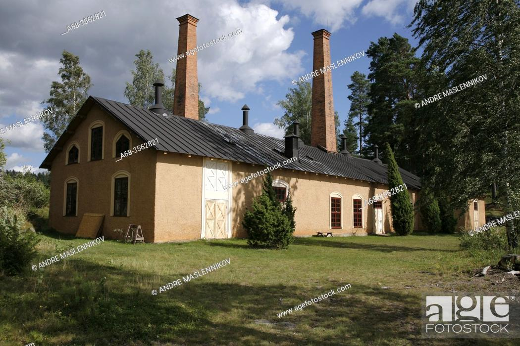 Stock Photo: The world's oldest preserved oil factory is located on Oljeön, 1876-1927. A small island in Lake Åmäningen outside Ängelsberg. Sweden.