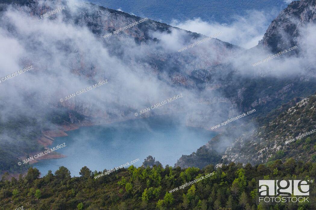 Stock Photo: Canelles Reservoir, Montrebei gorge, Congost de Mont-rebei, Montsec Range, The Pre-Pyrenees, Lleida, Catalonia, Spain, Europe.