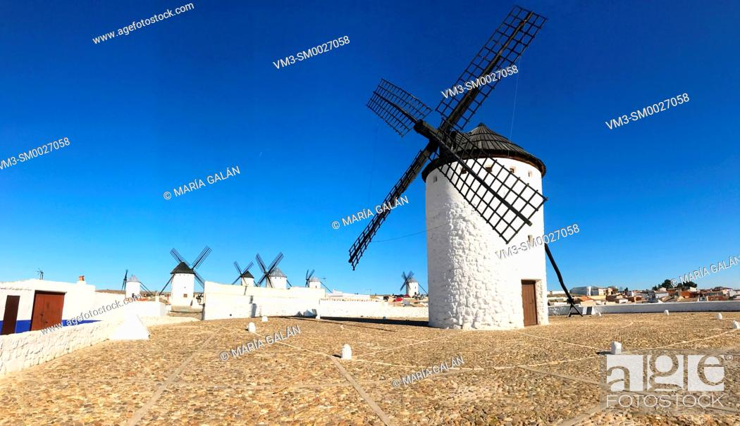 Stock Photo: Windmills, panoramic view. Campo de Criptana, Ciudad Real province, Castilla La Mancha, Spain.