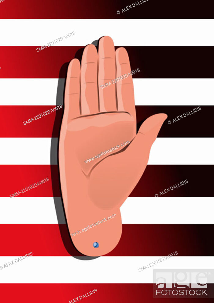 Stock Photo: Hand sign 'halt'.