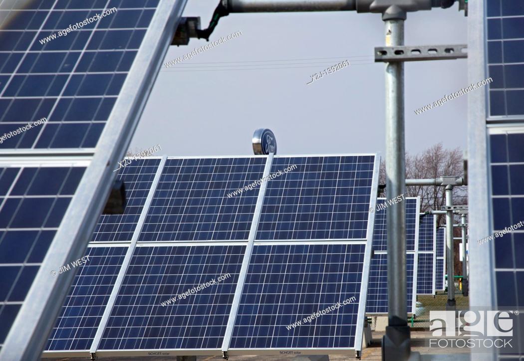 Stock Photo: Wayne, Michigan - A 500-kilowatt solar array helps power Ford Motor Co 's Michigan Assembly Plant.
