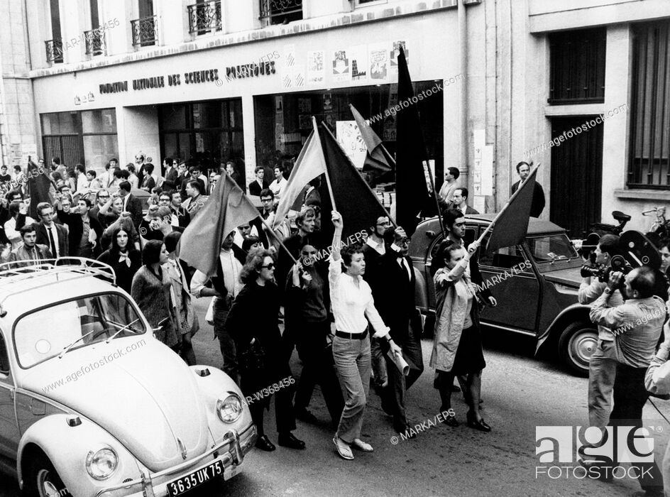 Stock Photo: students of the Faculty of Political Science dissolve the institute employment, paris 1968.